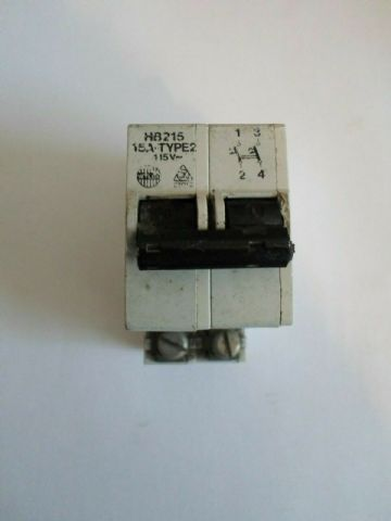 WYLEX HB215 15 AMP DOUBLE POLE MCB CIRCUIT BREAKER